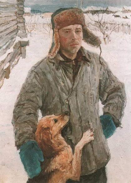 """Фото. Сысоев В.П. """"Портрет художника Николая Пластова (с собакой)"""",1965 г."""