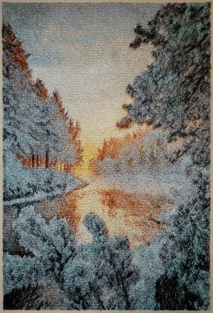 Фото. Зимний пейзаж, машинная вышивка.  Автор работы - Mazzy