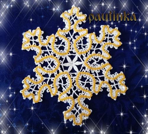 Фото. Снежинка,  машинная вышивка.  Автор работы - pautinka1