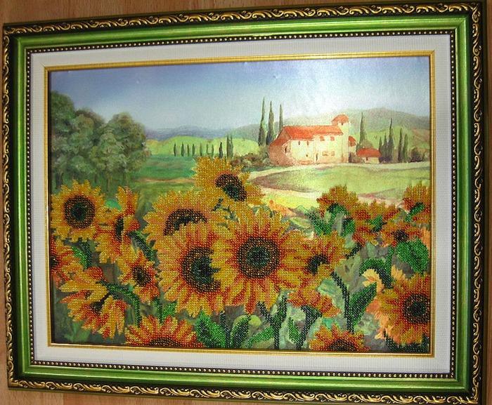 """Фото. """"Желтое поле"""" - вышивка бисером по канве с рисунком от ТМ Марiчка.  Автор работы - Simfony"""