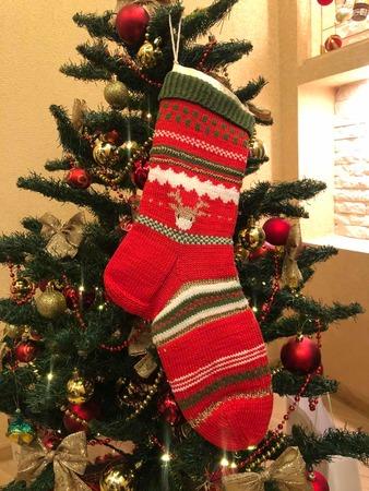 Фото. Традиционный рождественский чулок для подарков. Автор работы - Ларачка
