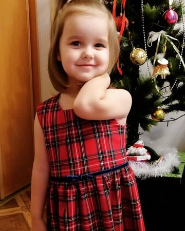 Фото. Платье для внучки из костюмной шотландской клетки.  Автор работы - Lyudmila_So
