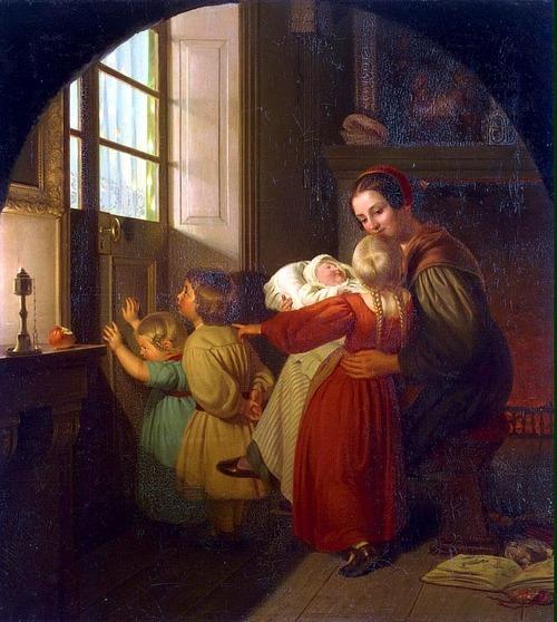"""Фото. """"Дети в ожидании ёлки (Сочельник)"""" Т. Хильдебрандт, 1840 г., Эрмитаж."""
