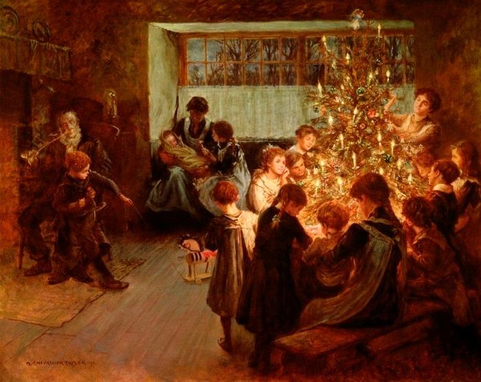 "Фото. ""The Christmas Tree"". Albert Chevallier Tayler (English, 1862-1925), 1911 г."