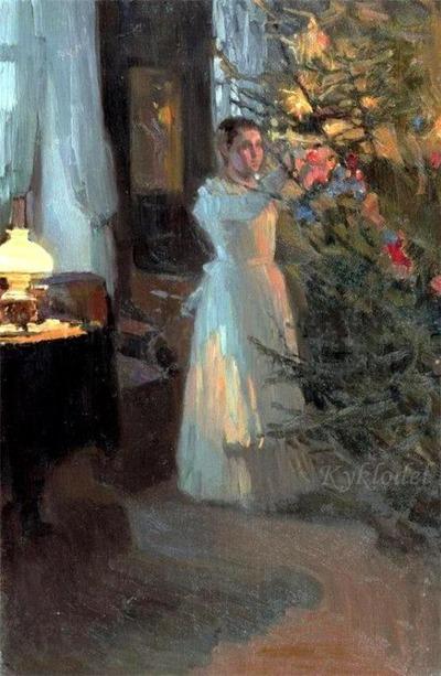 """Фото. """"Рождественская ёлка"""", Алексей  Корин, 1910 г."""