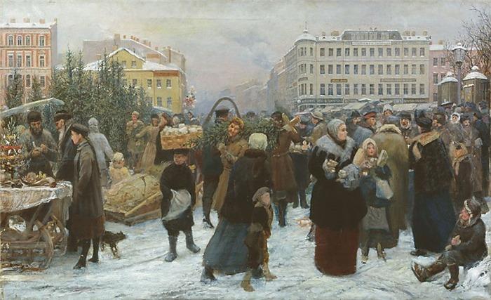 """Фото. """"Елочный торг"""", Генрих Матвеевич Манизер (1847-1925), 2-я пол. XIX в."""