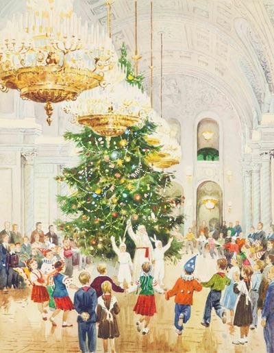 """Фото. """"Для тебя и твоих друзей ежегодно сияет ярким светом елка в Кремле"""", Тихий Иван Антонович, 1956 г."""