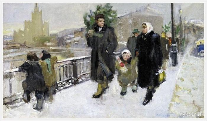"""Фото. """"Перед Новым годом"""", Тараканова Екатерина Николаевна (Россия, 1932) 1951 г."""