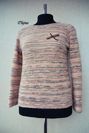 Фото. Пуловер Стрекоза из буклированного мериноса.  Автор работы - Olgiza