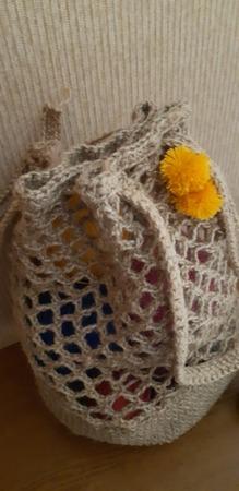 Фото. Сумка-авоська из джутовой пряжи.  Автор работы - SUPRIMO