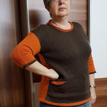 Фото. Связала себе тунику из носочной пряжи - к исходной  модели добавила карманы.
