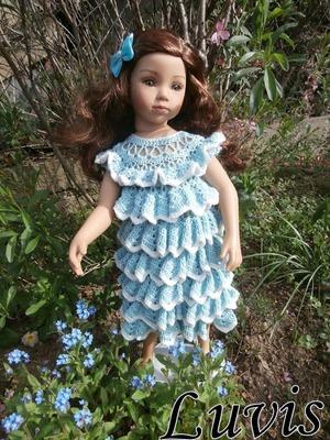 Фото. Не зря многие мастерицы тестируют на куклах детские наряды - платье с воланами крючком.  Автор работы - Luvis