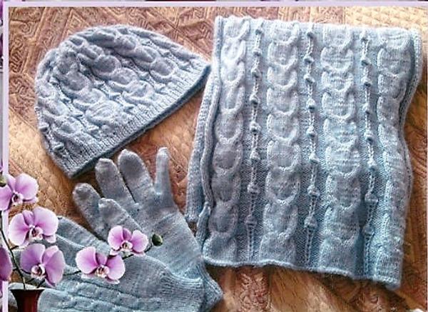 Фото. Комплект: шарф+шапочка+перчатки. Автор работы - Secunda