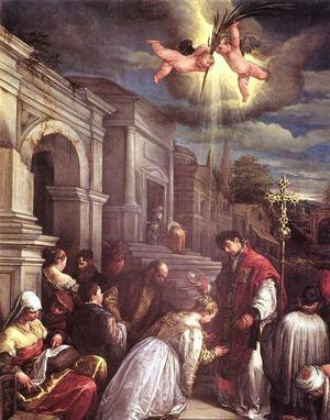 "Фото. ""Св. Валентин. Крещение Св. Лусиллы"" Якопо-Бассано, 1500 г."