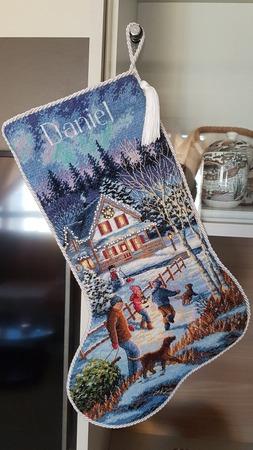 """Фото. Eve Fun Stocking ( """"В канун веселого рождества""""), размер 41 см.  Автор работы - Alenka-12"""