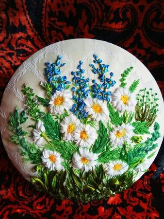 Фото. Ромашки. Вышивка лентами. Автор работы - babuliahak