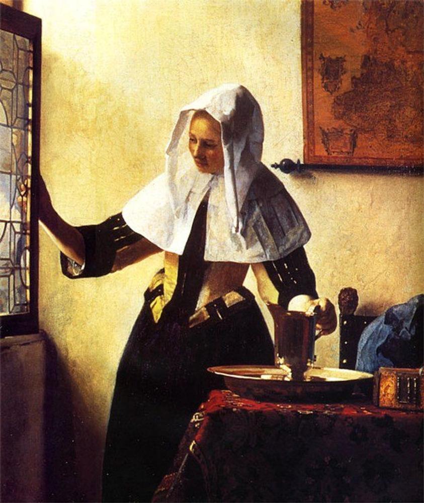 Фото. 38. Вермеер Дельфтский. Женщина у окна. Ок.1664-1665. Холст, масло. 45,7х40,6 см. Музей Метрополитен. Нью-Йорк.
