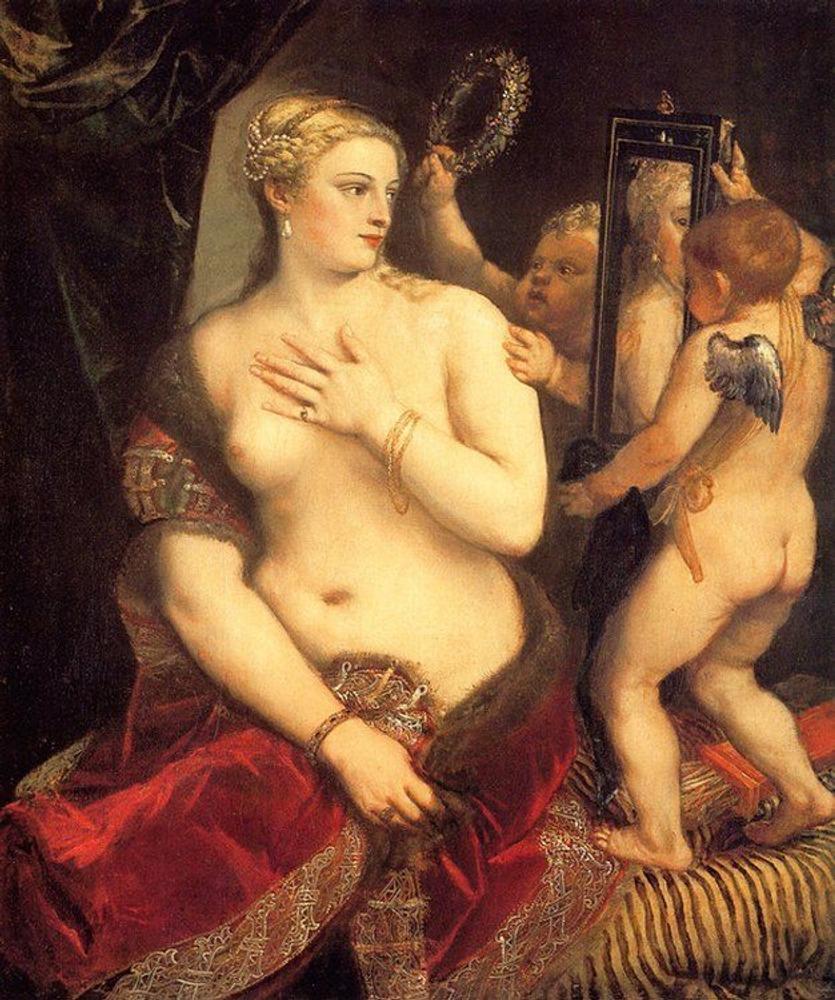Фото. 14. Тициан Вечеллио. Венера перед зеркалом. 1555. Холст, масло. 124х105см. Национальная галерея искусства. Вашингтон.