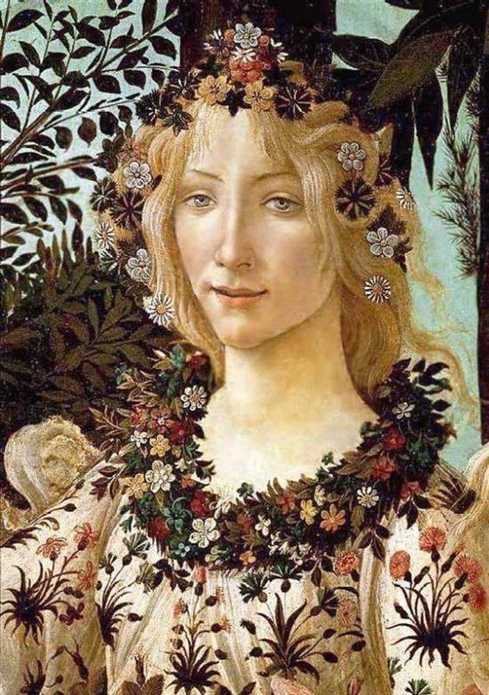 Фото. 13. Сандро Боттичелли. Весна. 1477-1478. Фрагмент. Дерево, темпера. 203х317см. Галерея Уффици. Флоренция.
