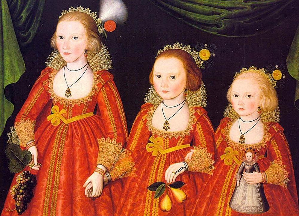 Фото. 43. Вильям Ларкин. Три юные девочки. 1620. Фрагмент. Дерево, масло. (Denver Art Museum).