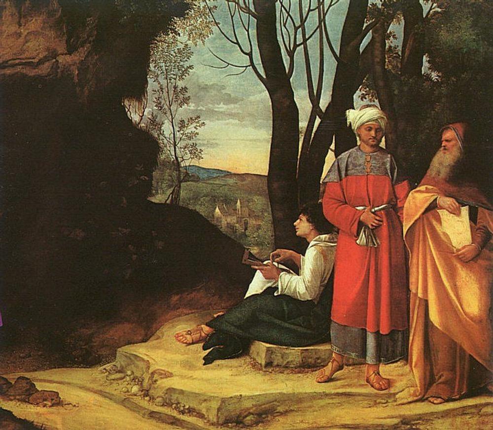 Фото. 42. Джорджоне. Три философа. 1508-1509. Холст, масло. 123,5х144,5 см. Музей истории искусства. Вена.