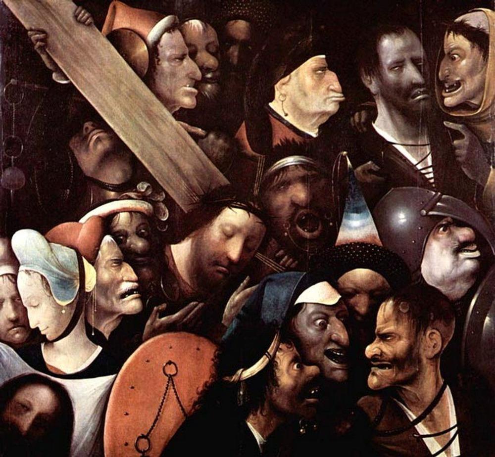Фото. 45. Иероним Босх. Несение креста. 1516. Дерево, масло. 76,5х83,5 см. Королевский музей. Гент.