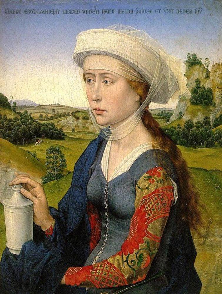 """Фото. 52. Рогир ван дер Вейден. Мария Магдалина (триптих """"Христос с мадонной и святыми"""", правая створка). Ок.1452-1453. Дерево, масло. 35х27 см."""