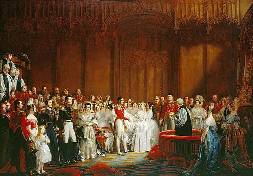 """Фото. 13. Джордж Хейтер """"Бракосочетание королевы Виктории и принца Альберта"""". 1840."""