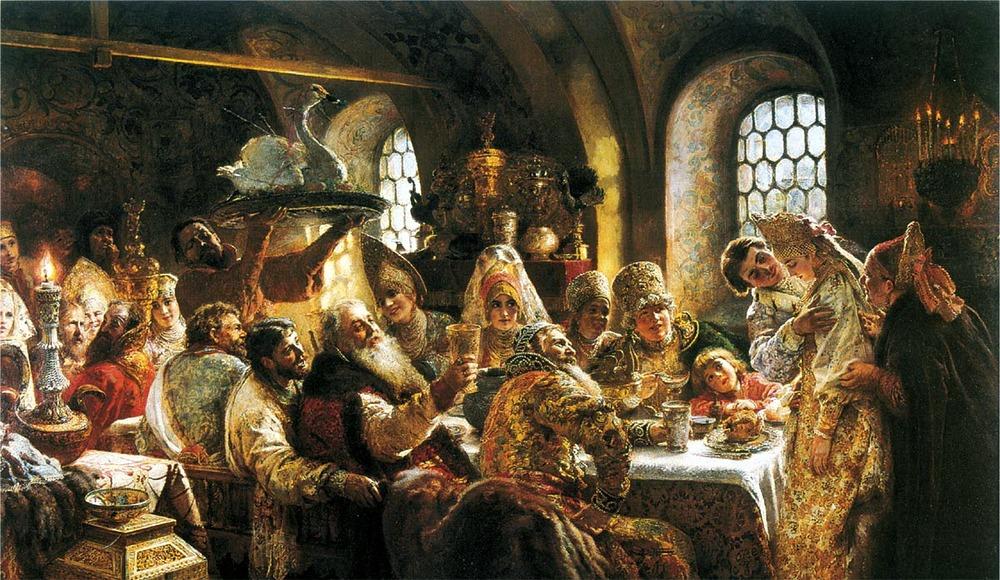 """Фото. 26. Маковский К.Е. """"Боярский свадебный пир в XVII веке"""". 1883. Музей Хилвуд. Вашингтон."""