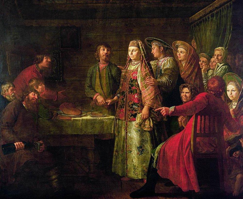 """Фото. 27. Шибанов М. """"Празднование свадебного сговора"""". 1777 г. Государственная Третьяковская галерея, Москва."""