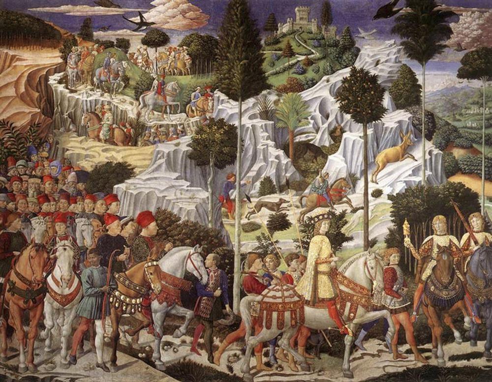 """Фото. 55. """"Шествие волхвов"""". Роспись в капелле. Палаццо Медичи. Флоренция. Италия."""