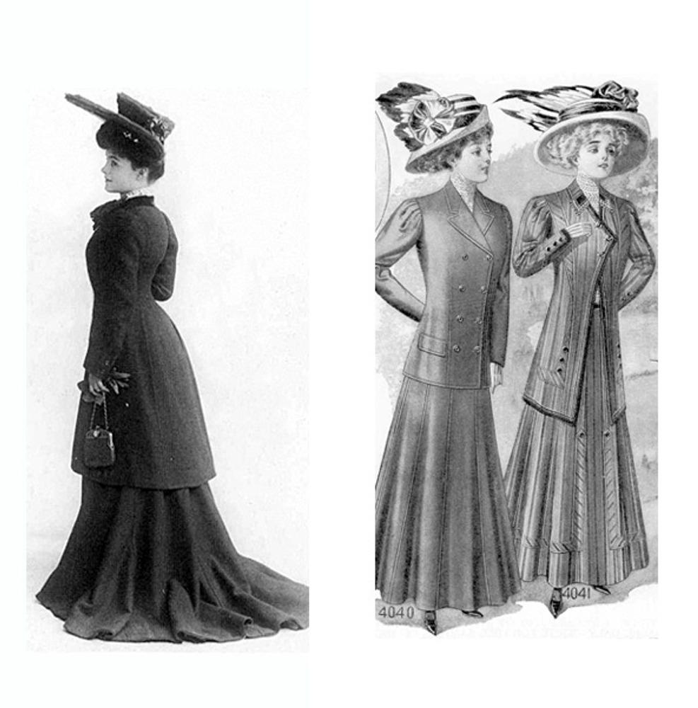 """Молодая женщина в костюме """"эскот"""". 1905 г. Женские дорожные костюмы в каталоге посылторга. Нью-Йорк, 1909 г."""