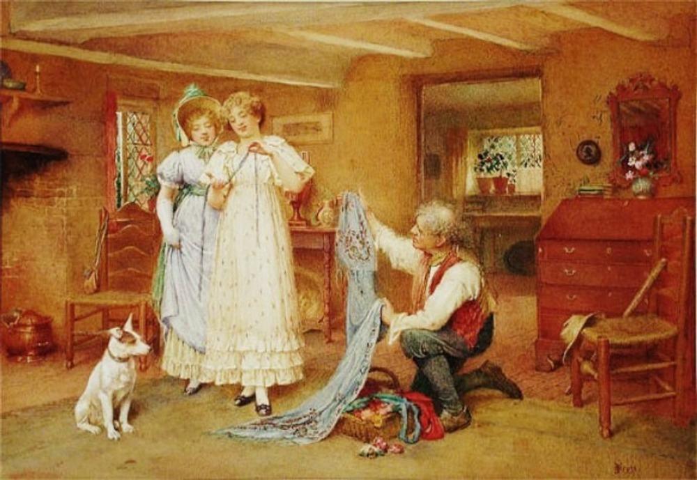 """John Scott (1850-1918) """"The Milliner's Visit"""""""