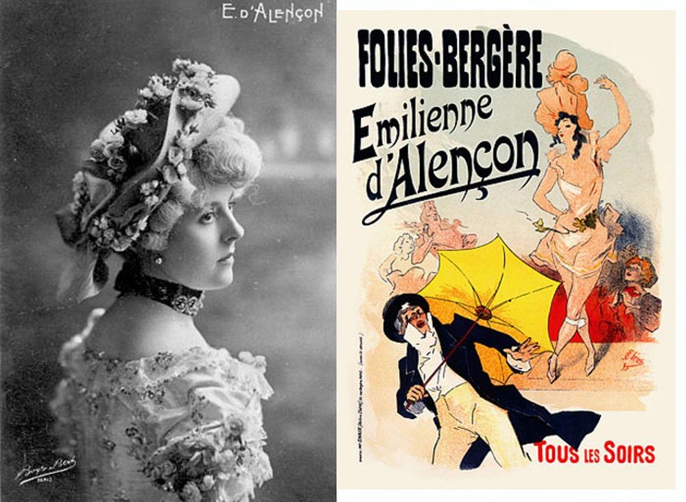 "Эмильена д'Алансон (фр.  Emilienne d'Alençon), ок. 1902 г. Афиша варьете ""Фоли-Бержер"", Париж."