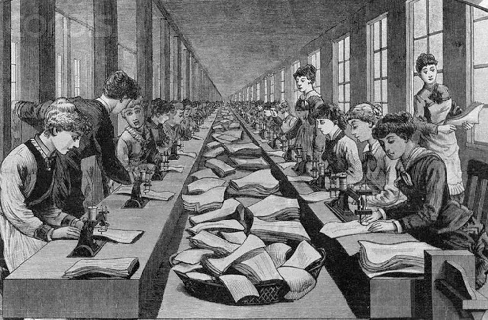 Women stitching of corsets in early wholesale of women's apparel, 1884