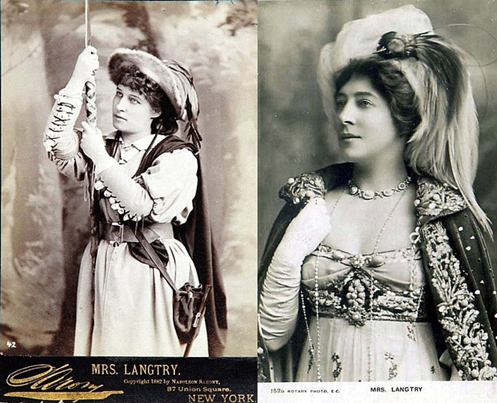 """Лили Лэнгри</b> (Lillie Langtry) в вечернем расшитом бусами платье демонстрирует моду на """"античность"""", ок. 1910 г."""