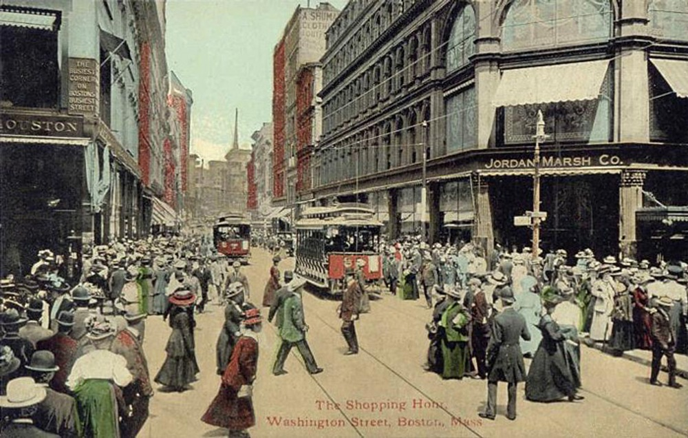 "The Shopping Hour"", Washington St. Postcard, 1910"
