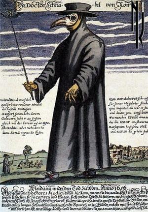 "Фото. Доктор Шнабель фон Ром (""Доктор Клюв Рима""), гравюра Поля Фюрста, 1656 г."