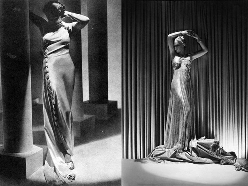 Фото. Белое атласное платье, драгоценные застежки в виде бантов. 1936 г. Плессированное платье из полупрозрачного ламе с шнуром из стразов, завязанным узлом у шеи. 1937 г .