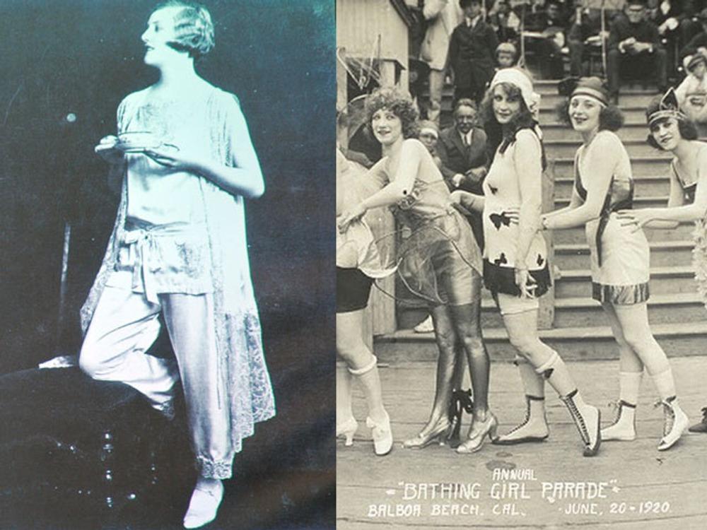 Фото. Пижама из креп-атласа с отделкой кружевом. Для более дешевых пижам использовали вискозу.  Ежегодный парад купальщиц, Бальбоа Бич, Калифорния, США, июнь 1920.