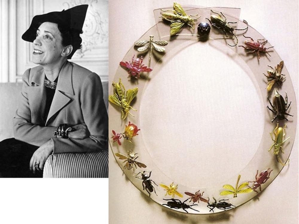 """Фото. Эльза Скиапарелли и ее сюрреалистическое ожерелье """"Насекомые"""" (пластика), 1938 г."""