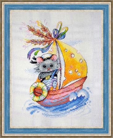 """Фото. Вышитая картина  """"Мышонок-мореплаватель"""".  Автор работы - Ladynelly"""