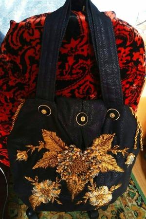 Фото. Сумка -  вышивка лентами.  Автор работы - babuliahak