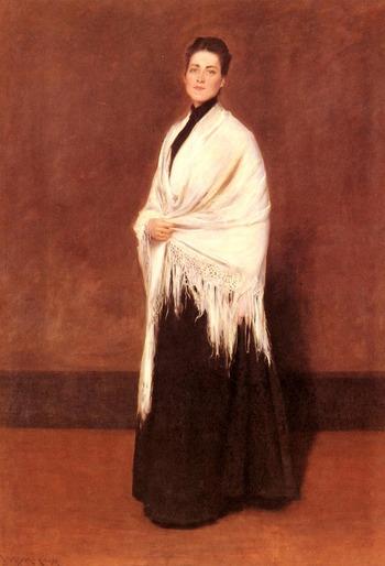 """Фото. Уильям Меррит Чейз """"Женщина с белой шалью. Портрет миссис К."""""""