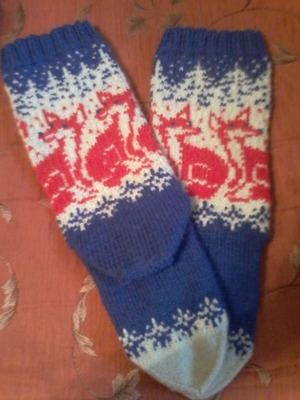 Фото. Носки с лисятами - очень модный в этом сезоне аксессуар.  Автор работы - nata7777