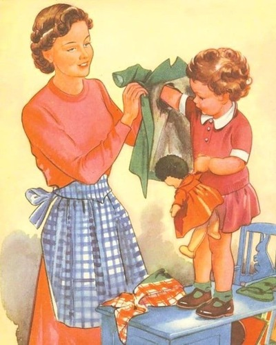 Фото. Vintage 1950's Children's Print - Mother Helps Young Child Toddler Put On Green Coat Book Plate Book Illustration