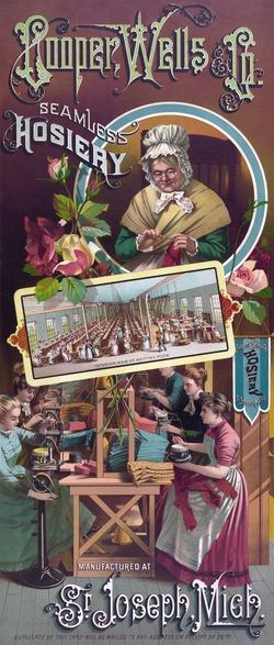 Фото. Реклама чулочно-носочной фирмы конца XIX века, которая изображает свой заводской цех с рабочими, использующими вязальные машины. 1886.