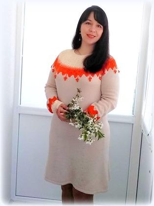Фото. Платье по описанию джемпера Липа. Автор работы - Tory-sunny