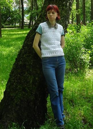 Фото. Жилеточка из Alize Angora крючком.   Автор работы - Ladynelly