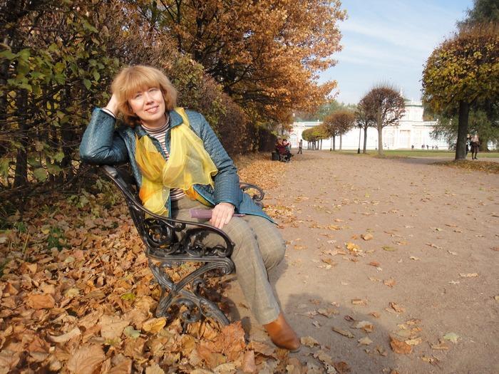 Фото. Осень в усадьбе Кусково. Куртка брюки и водолазка сшиты мной.